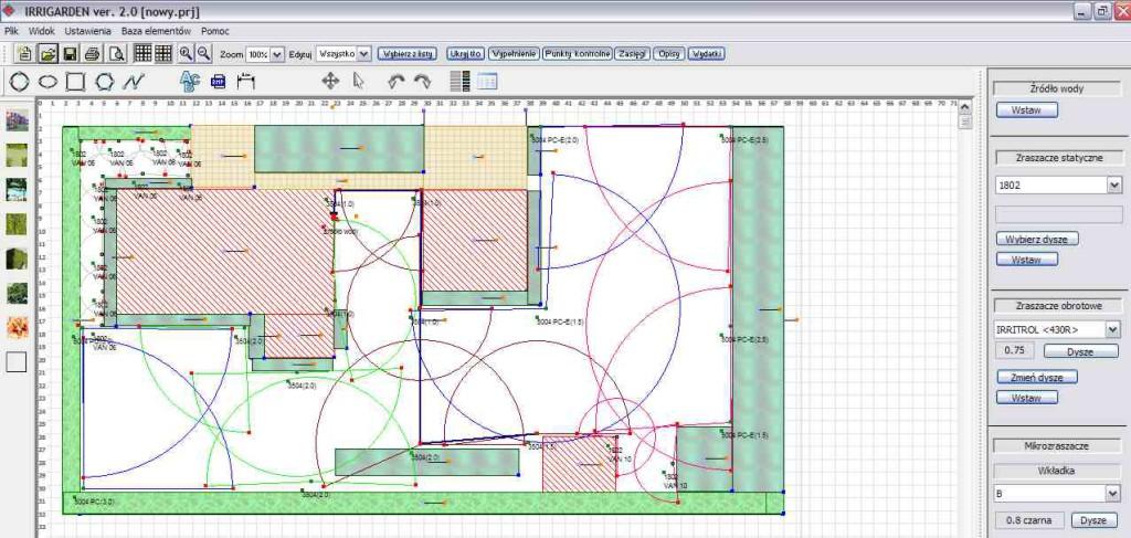Systemy instalacji nawadniających projektujemy tradycyjną metodą lub przy pomocy programu Irrigarden.